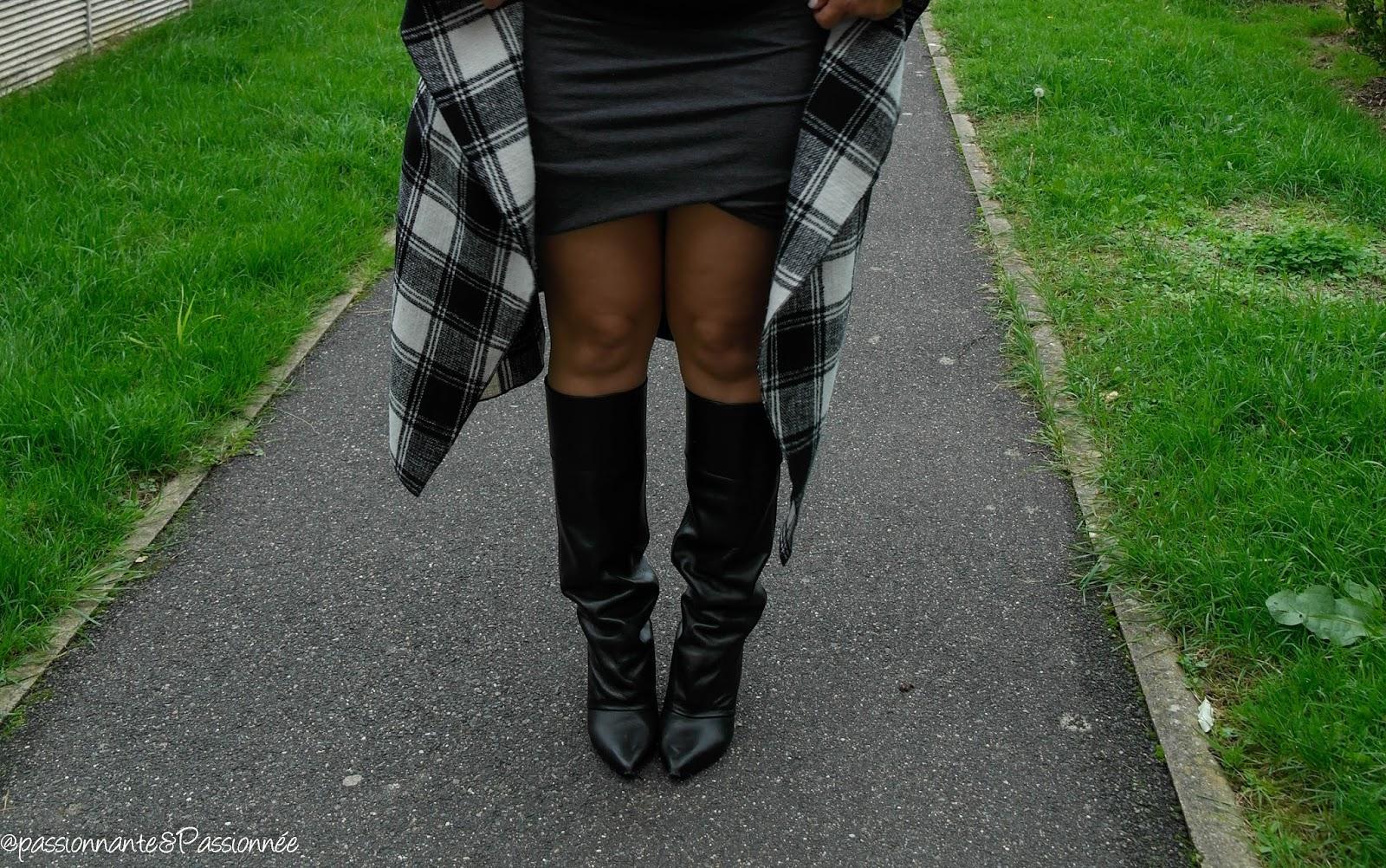 manteau noir et blanc carreaux