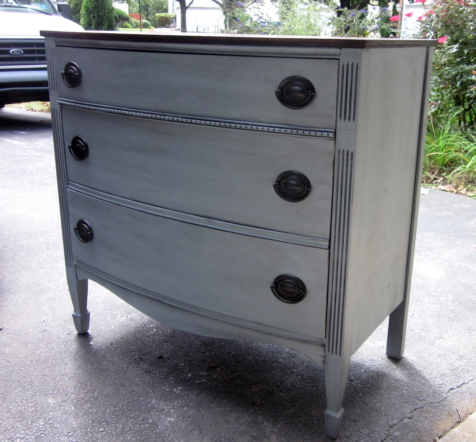 Uniquely chic furniture i love blue gray paint for Dark grey furniture paint