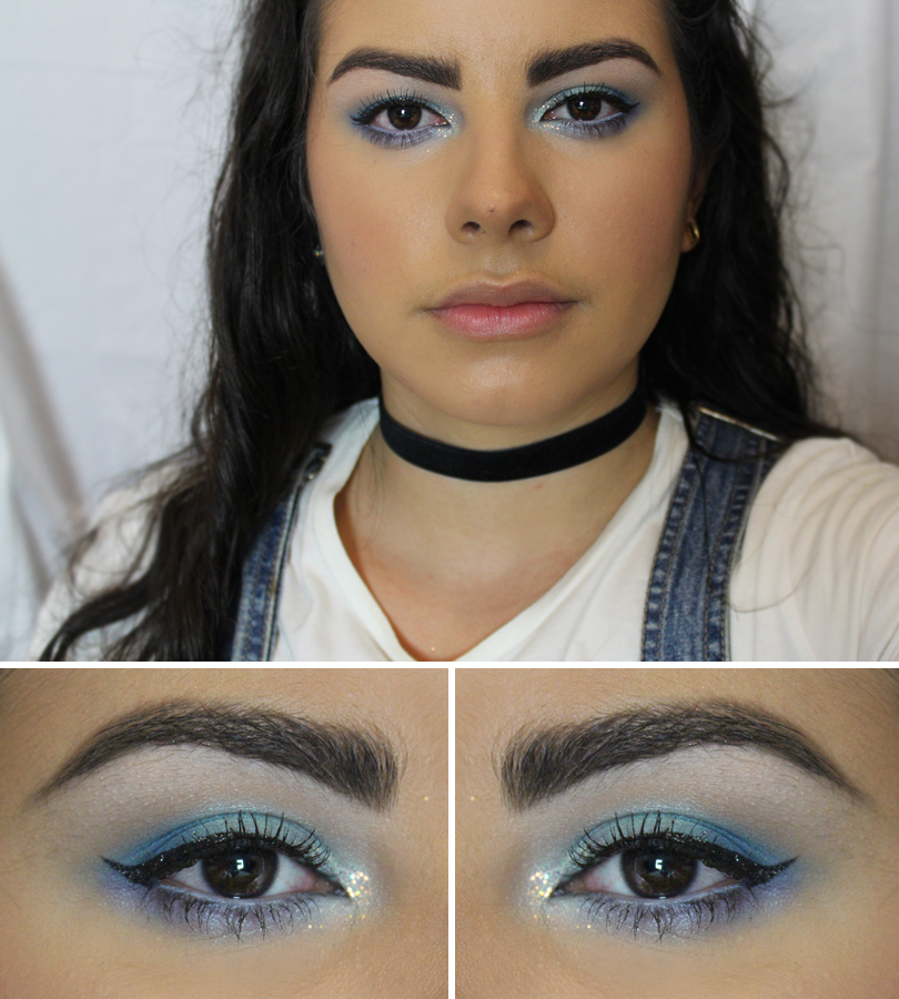 Rimmel ScandalEyes Eyeliner in Light Blue 90s Nineties Icy blue eyeshadow makeup look Coastal Scents Ice Ballet Poolside NYX glitter