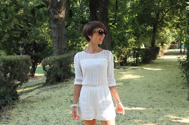 Bershka white jumpsuit