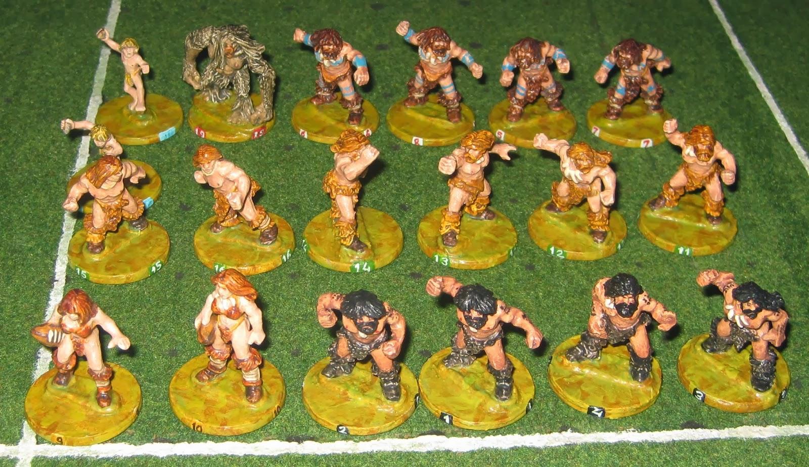 18 Crô-Magnon et un Yéti pour une équipe orque de Blood Bowl