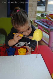 toddler crafts Easter Chicken painting the egg