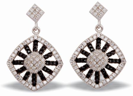 Tanya Rossi Black & White Crystal Dangler Earrings TRE 495 Rs 2800