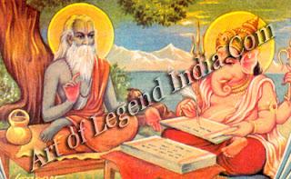 Vyasa dictating the Mahabharata epic to Ganesha