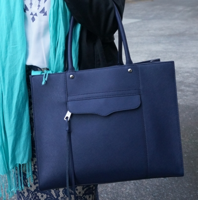 Rebecca Minkoff medium MAB tote in moon navy  with blue office outfit