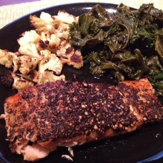 ... crusted salmon with spicy sauteed kale and garlic roasted cauliflower