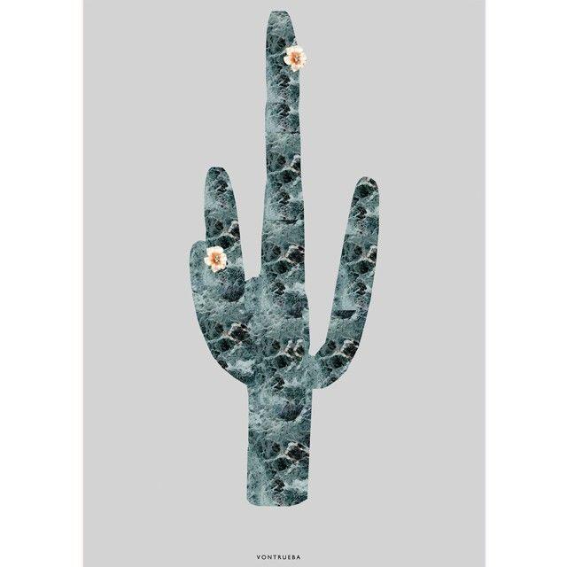 blomstrende grøn kaktus plakat