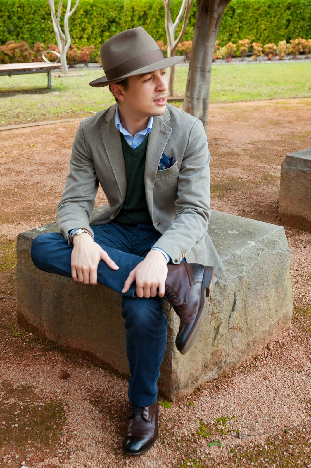 Gap Pants, Clarks Shoes, Suit Supply Blazer, Jack Jones Sweater, Brooks Brothers Shirt, Akubra Hat