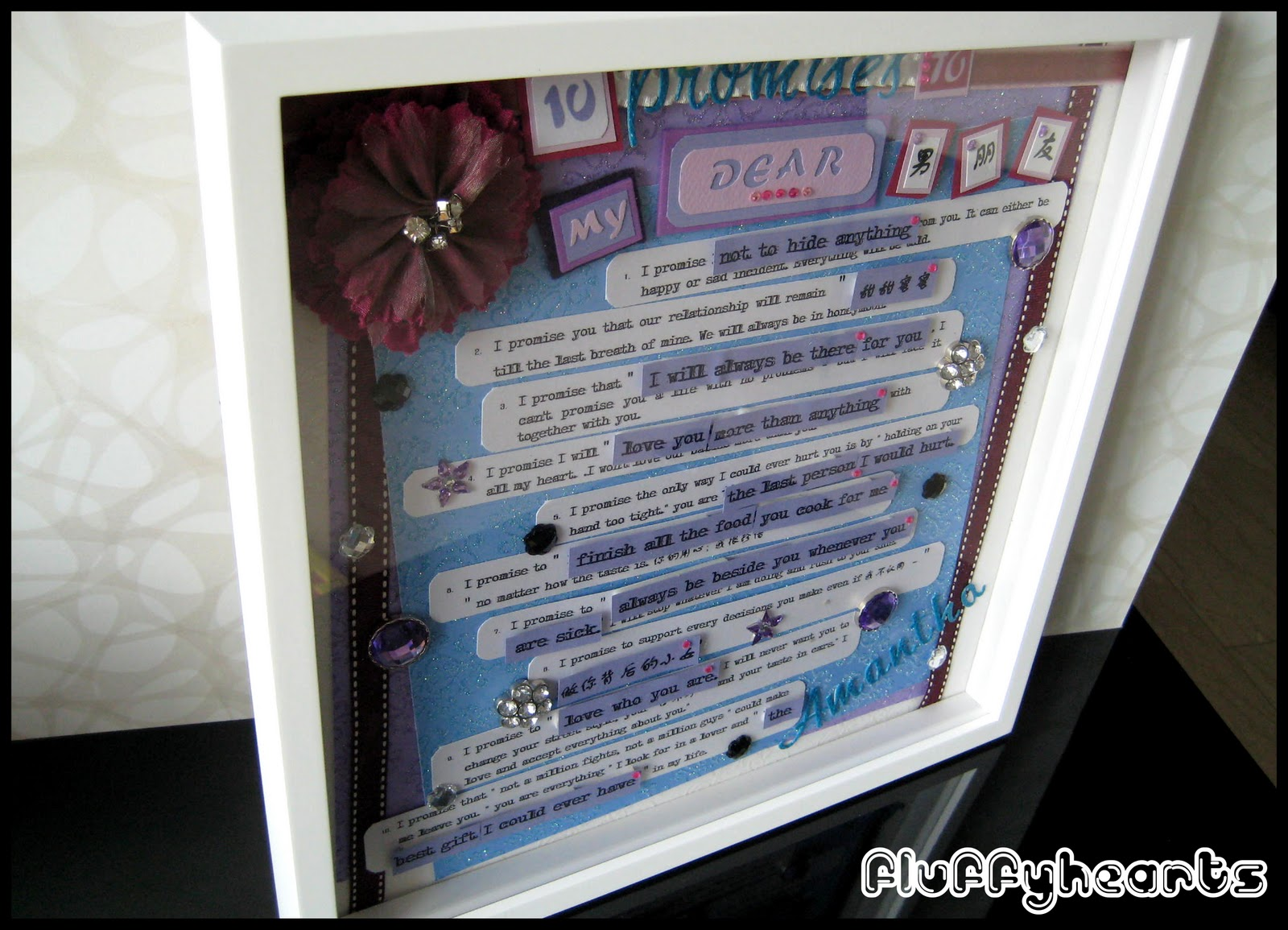 Fluffyheartz ♥: Frame with promises to boyfriend from his sweetheart