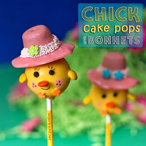 Chick Cake Pops with Bonnets by Sugar Kissed