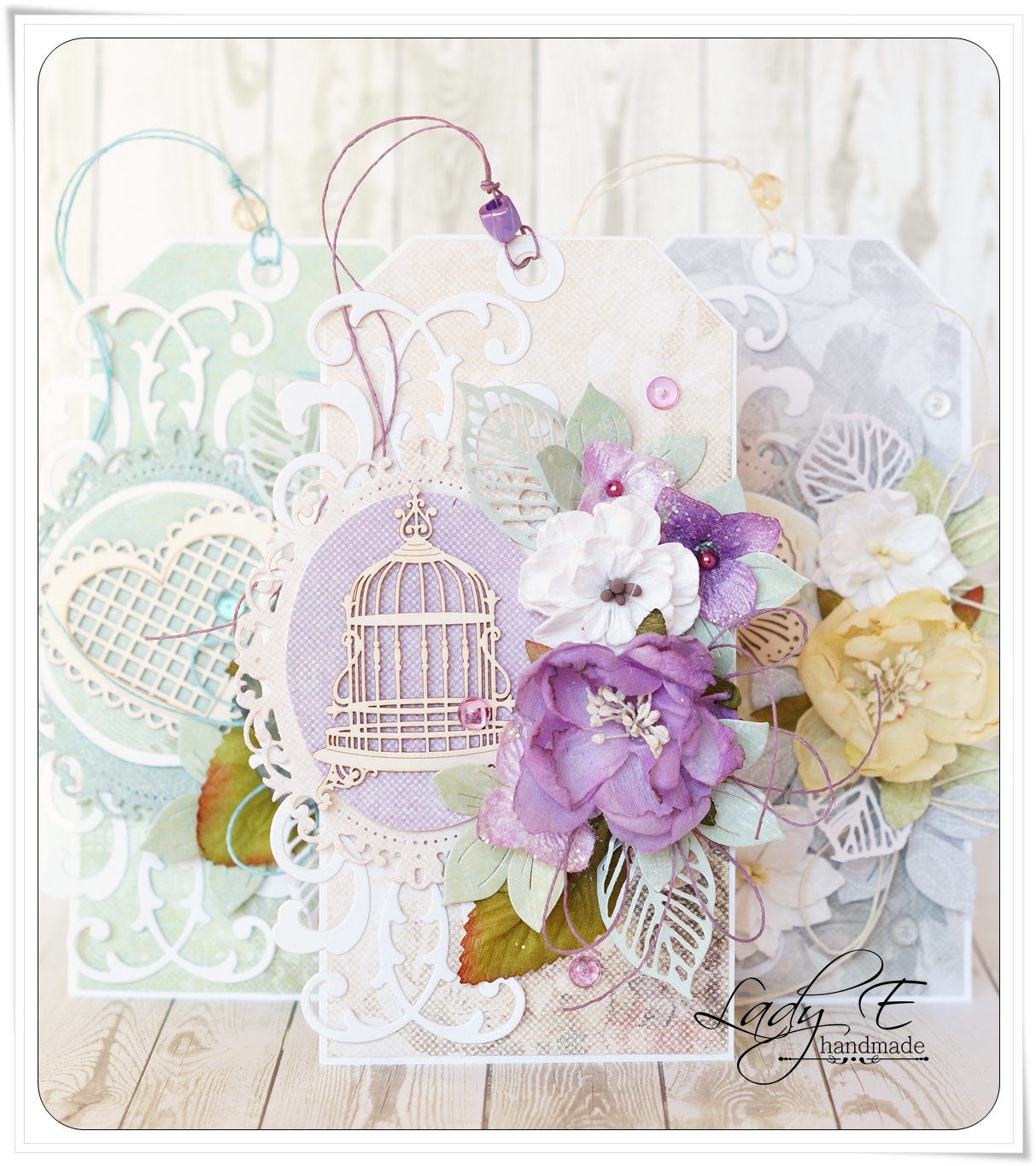 Three tags scrap art by lady e for Beautiful pastel colors