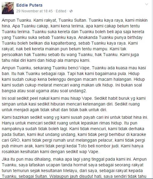 Keluhan Rakyat Marhaen Bila Sultan Johor Haramkan vape
