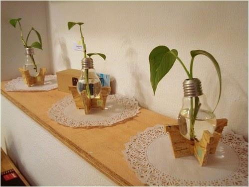Como hacer floreros con bombitas de luz portal de Ideas geniales para decorar la casa