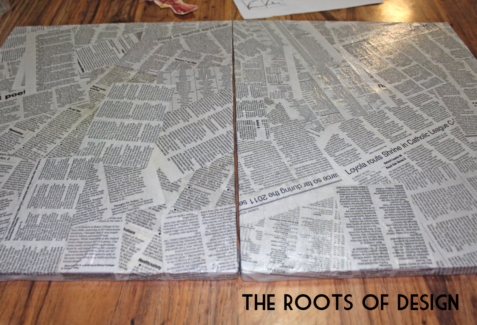 The roots of design diy newspaper art for Newspaper canvas art