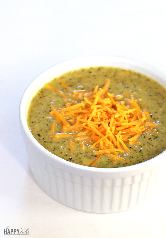 Easy Cheesy Broccoli Cheddar Soup— Primal, Gluten-free, and Grain-free │ thehappytulip.com