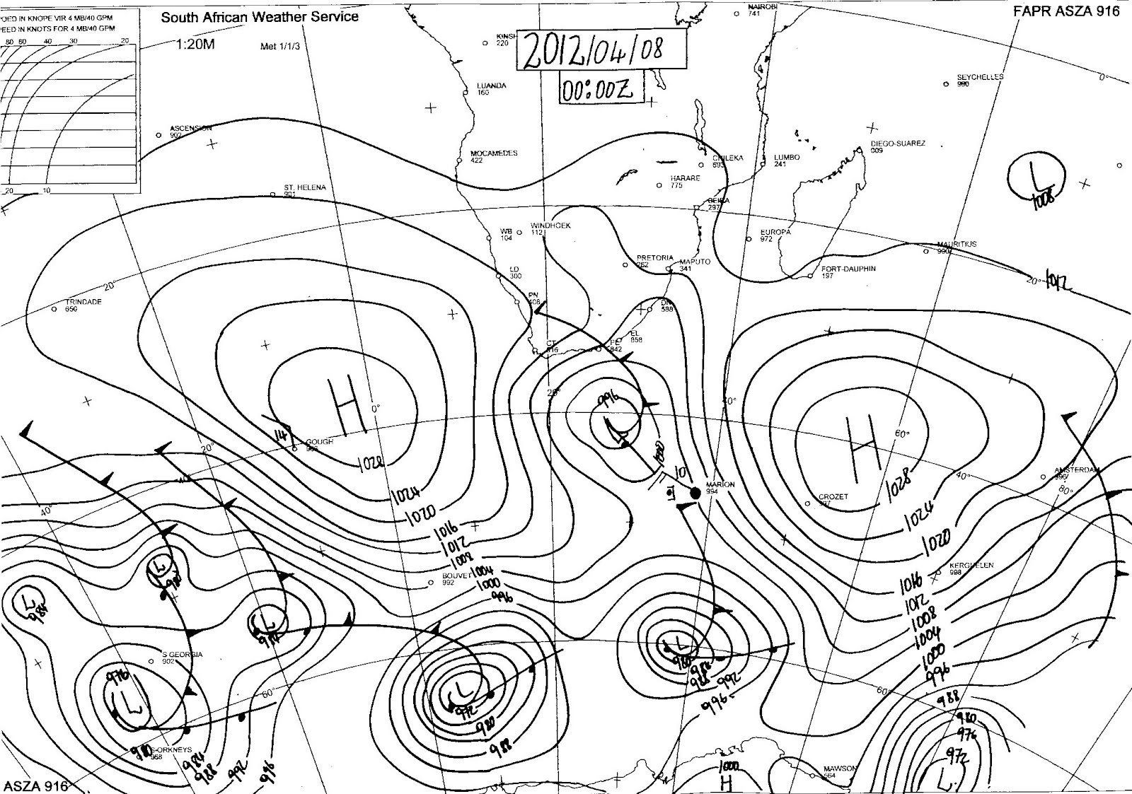 Sa Weather And Disaster Observation Service Sa Sea Level Synoptic Chart