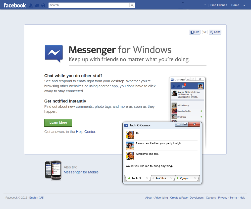 application facebook messenger pour windows phone
