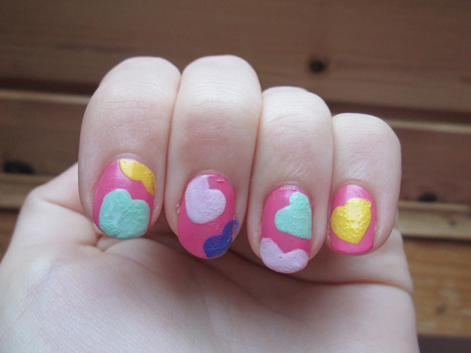 PiggieLuv: Nail fail: candy hearts nail art