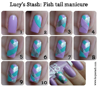 Fishtail manicure steps nail polish varnish