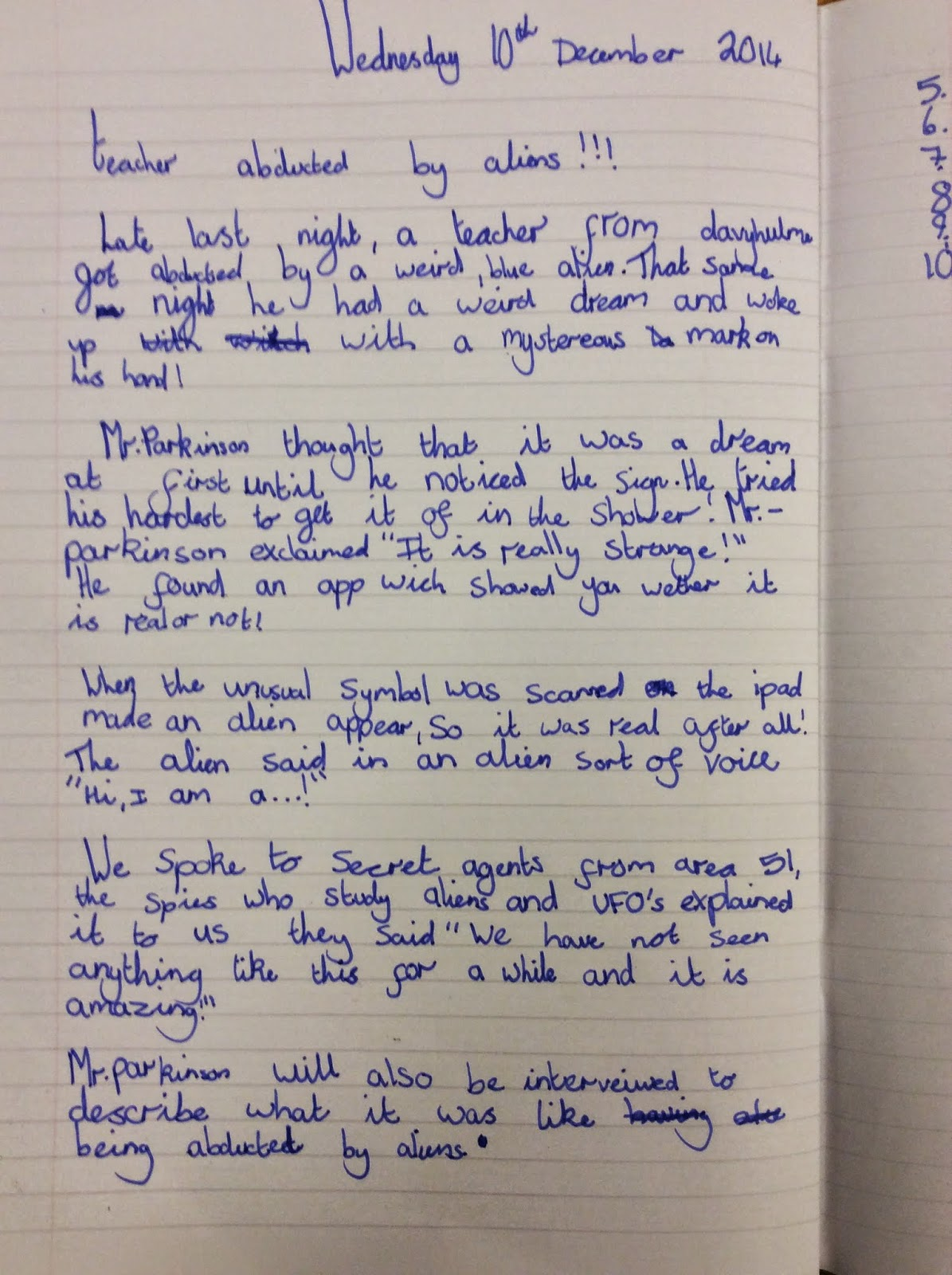 creative short story about aliens essay Through this essay i will explain why the creative writing: a short story of and had some science references in the story as i read along aliens.