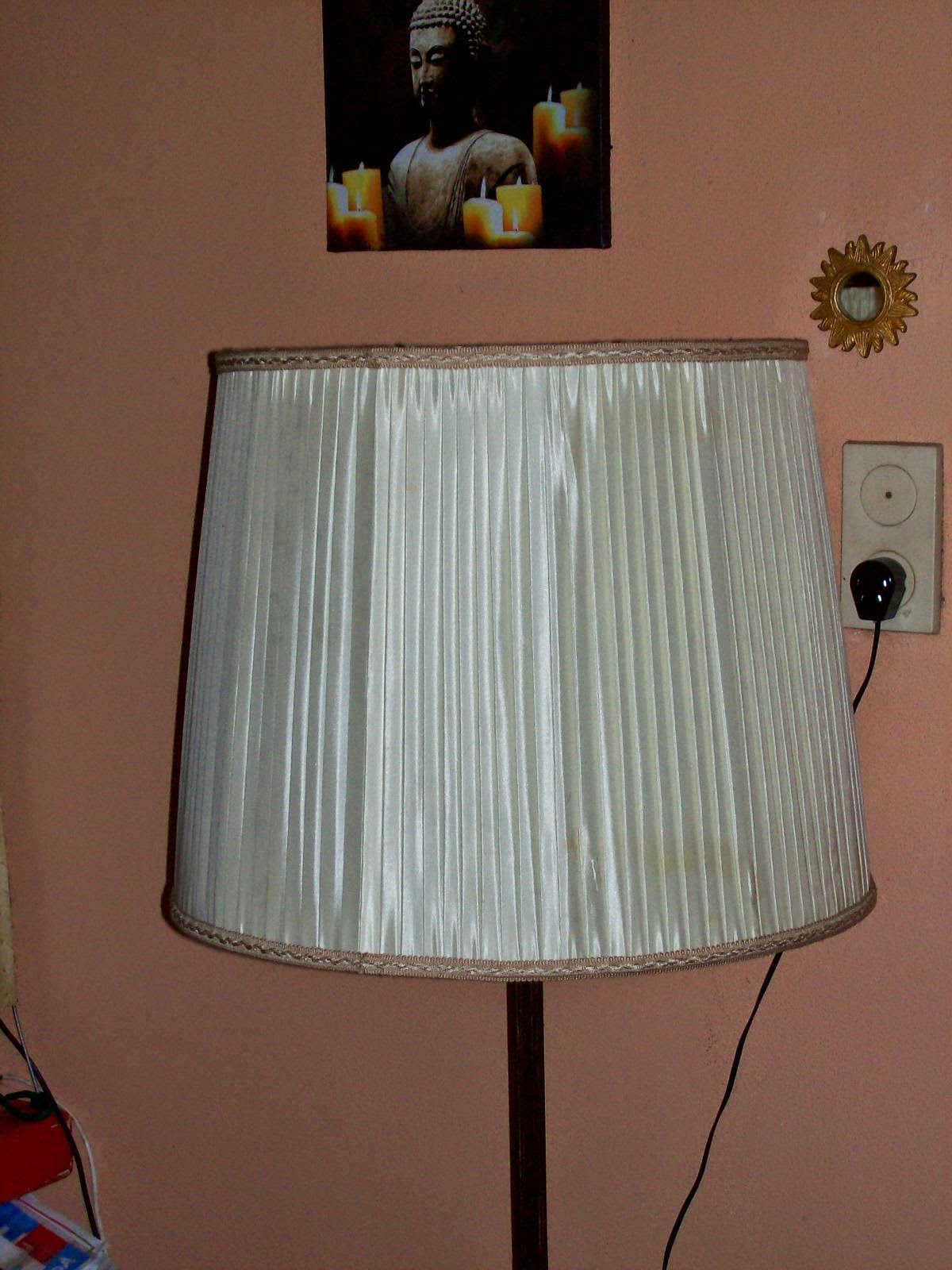 Picture of my lamp, with a creamy white lampshade