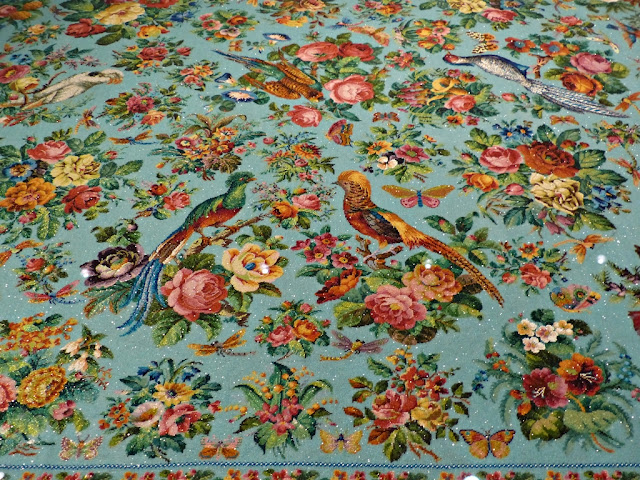 Peranakan beadwork, detail of tablecloth featuring birds and flowers in its design