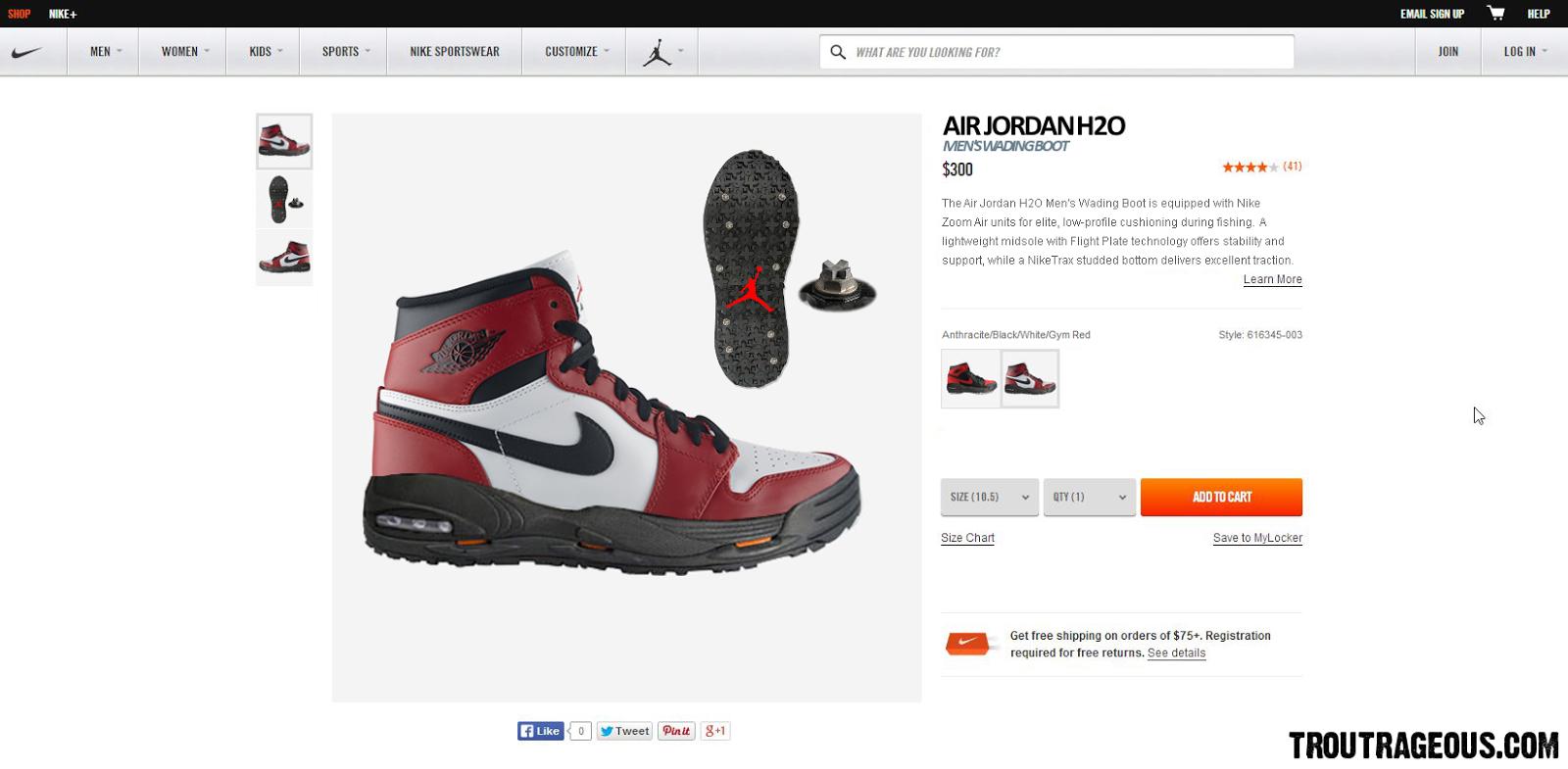 Nike Air Jordan H2O Wading Boot Nike.com Product Page