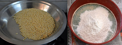 preparations for pottukadalai murukku
