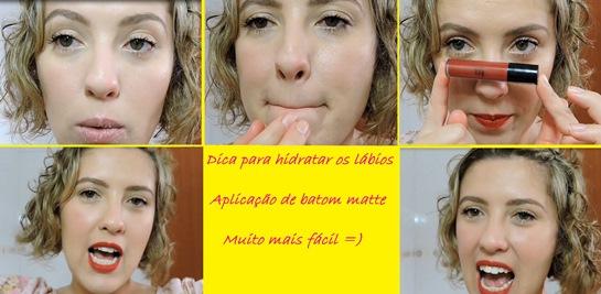 Hidratando os lábios, aplicação de batom matte
