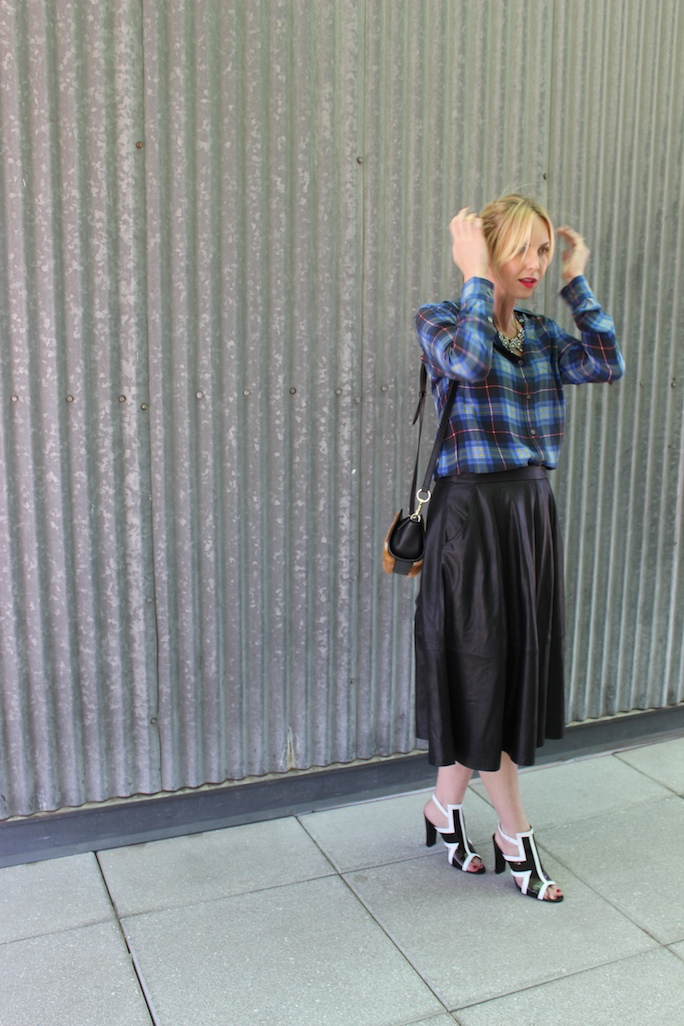 leather-midi-skirt-plaid-shirt-street-style