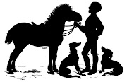 Vintage Clip ArtSweet SilhouetteBoy with Horse & Dogs