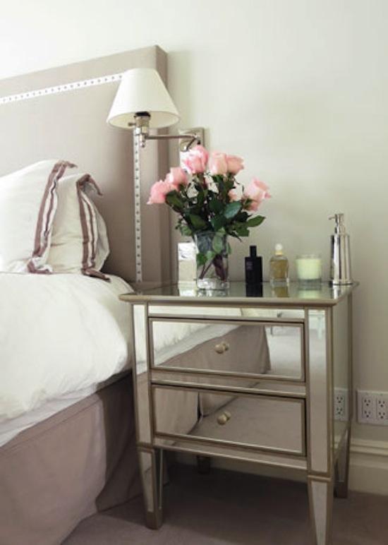 nailhead trim headboard, mirrored nightstand, pink roses