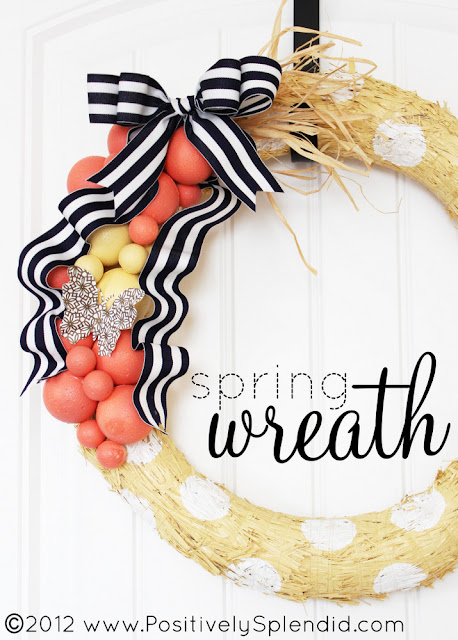 DIY Spring Wreath Tutorial via Positively Splendid - Learn how to paint polka dots on your pretty Spring wreath using foam balls!