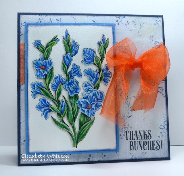 Elizabeth Whisson, flowers, PowerPoppy, Power Poppy, Gladioli, Lavender sentiment, Canson Mi-Teintes, Prismacolor pencils, handmade card