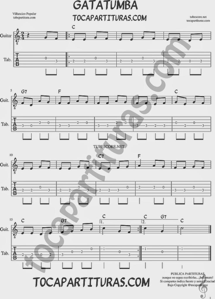 Gatatumba Tablatura y Partitura del Punteo de Guitarra con Acordes para tocar y acompañar el villancico andaluz con tu guitarra Tabs Easy Guitar Sheet Music Chords