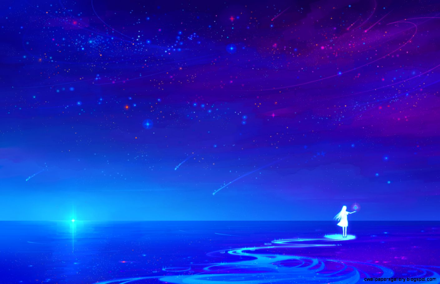 Anime Night Sky Wallpaper  1500x1000  ID51713