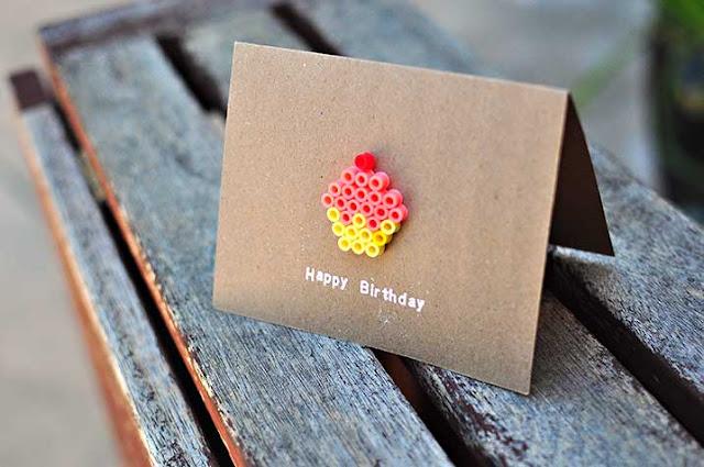 Hama  perler beads cupcake birthday card