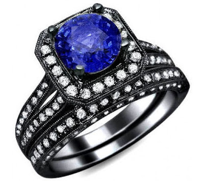 Blue sapphire diamond and black gold ring