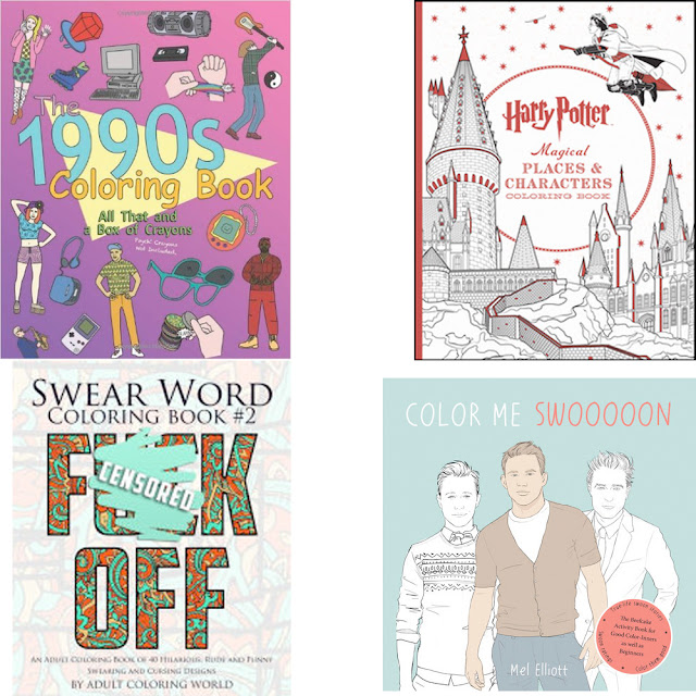 adult coloring books, The 1990s Coloring Book, Harry Potter Magical Creatures and Characters Coloring Book, Swear Word Coloring Book #2, Color Me Swooooon Coloring Book, birthday wishlist, gift list
