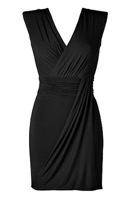 Black Draped V-Neck Jersey Dress