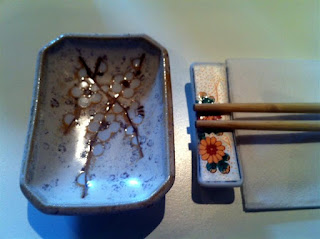Stitch and Bear - Place setting at Michie Sushi