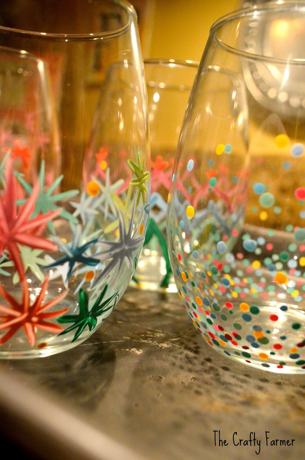The crafty farmer painted wine glasses for Diy painted wine glasses