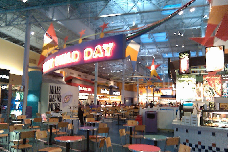 The food court is the size of a football field, but currently only a  title=