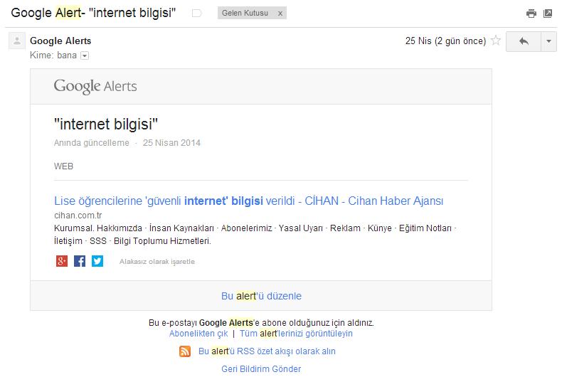 Google Alert E-Posta
