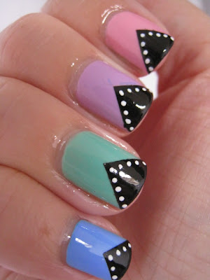 Pastel-nail-art-chevrons-Barry-M-polish