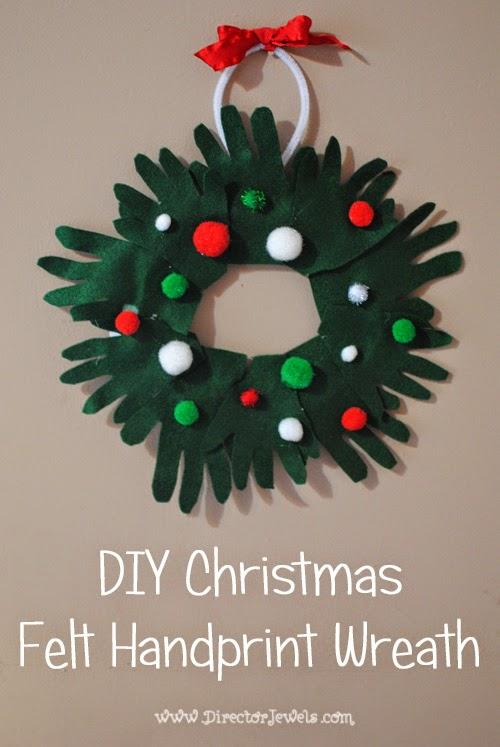 Director jewels diy christmas felt handprint wreath for Felt christmas crafts for kids
