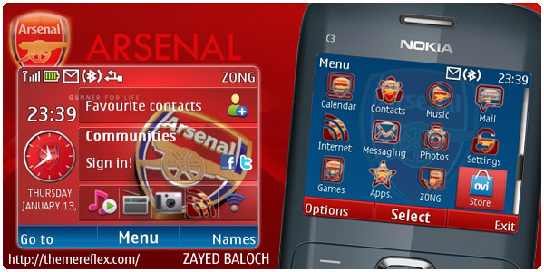 arsenal c3 v2 theme by zb Download Tema Nokia C3 Gratis