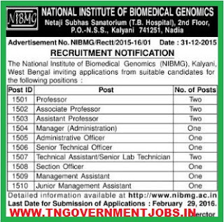 Applications are invited for various Teaching and Non Teaching Posts in NIBMG West Bengal www.tngovernmentjobs.in