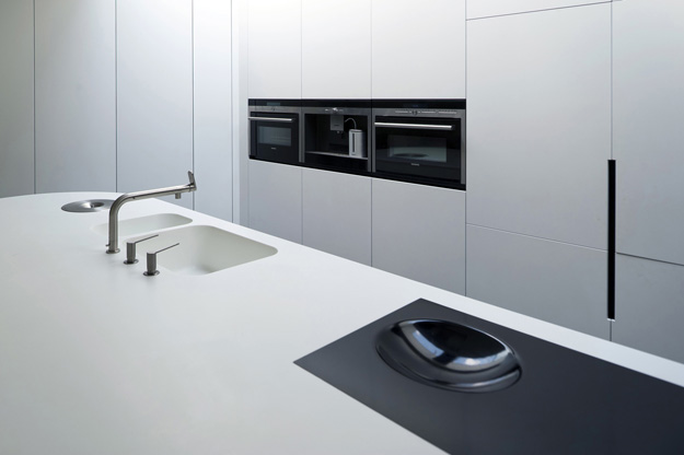 Photo of modern minimalist black and white kitchen surface