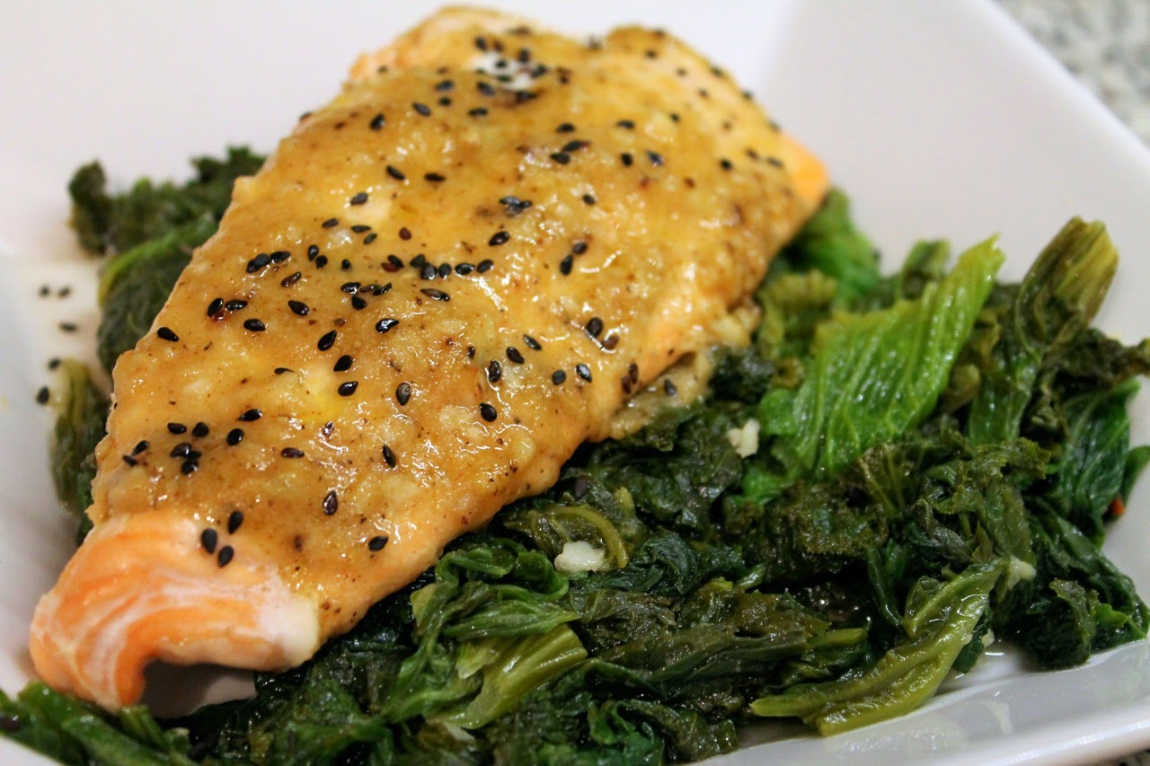 Baked Salmon with Honey-Mustard, Ginger and Garlic